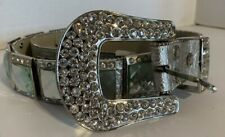 Bhw Women Medium Western Silver Leather Crystal Removable Horseshoe Buckle Belt