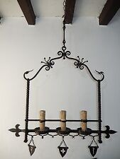 c 1900 French Medieval Fleur di Lys Wrought Iron Chandelier Gothic Family Crests