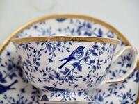 Blue Birds Teacup & Saucer New Bone China Blue White Hamptons Coastal Home Decor