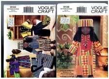 """VOGUE 9138 & 9140 PATTERNS Doll Clothes Ethnic African 18"""" American Girl"""
