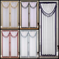 Panel +Valance Complete Set Faux Silk Window Curtain Master Room Solid Color AMY