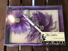 STUDIO HIS & HERS Purple Feather Floral and Lace WEDDING GUEST BOOK W/pen