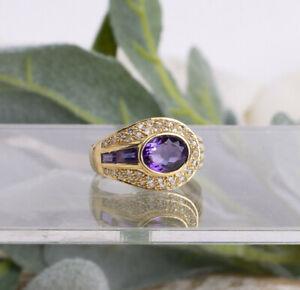 Fine 18K YG Purple Amethyst Pave Diamond Size 7 1/2 Ring Weighs 5.3 gr