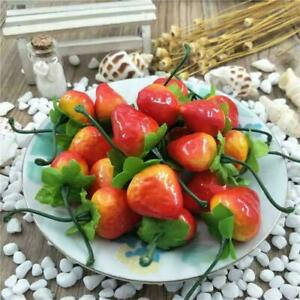 10x Artificial Ornament Red Strawberry-Fake Plastic Fruit Kitchen Home Decor New