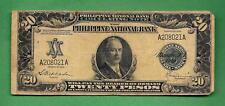 1919 PHILIPPINES NATIONAL BANK CONG. JONES TWENTY PESO A208021A P-48 RARE