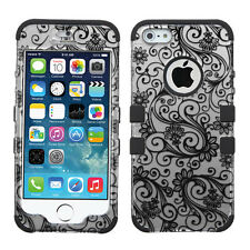 For Apple iPhone 5 5S Hybrid Rubber Protective Hard Case Spiral Flower Silver