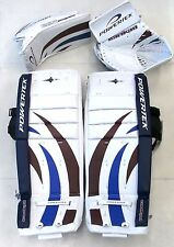 "Powertek Barikad leg pads/blocker/glove blue/purple 28"" Jr ice hockey goalie New"