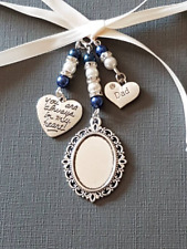 """Wedding Bouquet Charm Oval Silver Locket """"always in my heart"""" and """"dad"""" charms"""