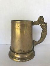 """Vintage Brass Mug Rustic Namaste Mermaid handle Goddess of the Sea heavy 5"""" tall"""