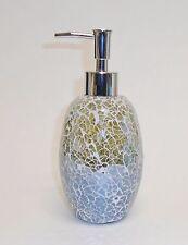 NEW SAGE GREEN & GRAY GLASS,MIRROR MOSAIC BATHROOM,KITCHEN SOAP,LOTION DISPENSER