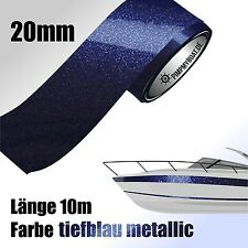 ZIERSTREIFEN 10m TIEFBLAU - METALLIC 20mm Auto Boot Jetski Dekorstreifen BLAU 20