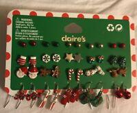 20 Pairs Claire's Christmas Ball Star Santa Mitten Snowman & Dangling Earrings