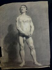 NEOCLASSICAL OLD MASTER drawing 'MALE NUDE' ca 1800  ACADEMIC DRAWING - QUALITY