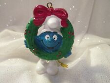 Smurfs Christmas Smurf Wreath Ornament Figurine Vintage PVC Figure Toy
