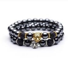 Men's Hematite Stone Bead Bracelets Gold Silver Panther Pendant Charms Bracelets