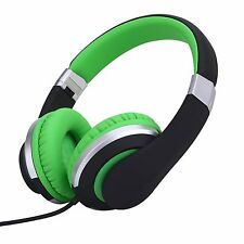 RockPapa Foldable Adjustable Headphones Mic for Kids Childrens Boys Girls Green