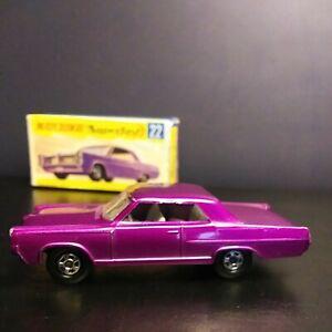 Matchbox 1970. Superfast #22 Purple Pontiac GP Super Rare In. Original Box VNM