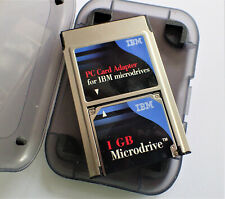 1GB IBM Microdrive Hard Disc Memory Card Compact Flash Type II with Card Adapter