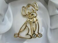 Adorable Open Work Gold Tone Clear Rhinestone Stylised Dog Animal Brooch Pin