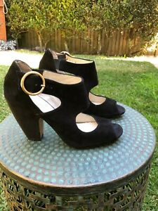 BASQUE - high heel black suede shoes with buckle & shiny detail –  size 38 1/2