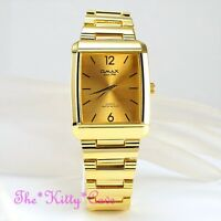 Swiss Brand OMAX Designer Seiko Y121 Movt Gold PL Square Gents Mens Watch HSJ693