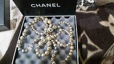 "Vintage Rare Hand Painted Chanel CC Pearl Necklace- 47""- STUNNING"