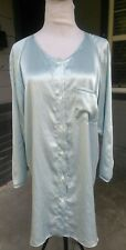 X-SMALL VINTAGE CALVIN KLEIN SATIN FLANNEL Nightgown Shirt Pajamas Long Sleeve P