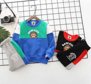 2020 New 1 Set New Kids Boy Girl Baby Milo Monkey Sweatershirt Hoodies+ Pants