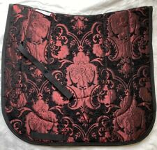 "Fancy ""Sevilla"" Black Burgundy Red Baroque Dressage Saddle Pad"