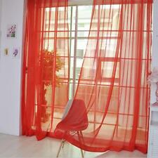 Red Voile Sheer Curtain Panel Window Balcony Tulle Room Divider Valances New TL
