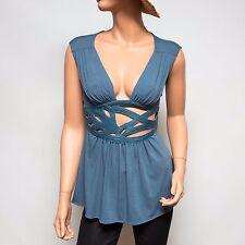 NWT Ingwa Melero Slate Blue Jersey Lily Top with Leather Yoke 21 JLT XS $260
