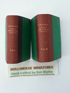 Dolls House 1/12 scale 2 Zoology Books (victorian) Hand Crafted By Ken Blythe