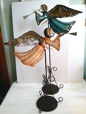 Two Metal Angels Playing Horns on Stands Taper Candle Holders Folk Art