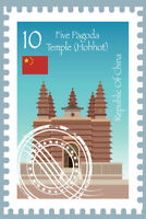 Republic of China Five Pagoda Temple Postage Postage Art Print Poster 12x18 inch