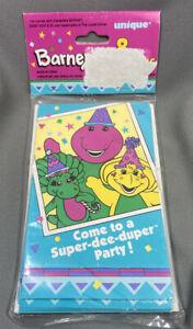 Vintage Barney & Friends Super Dee Duper Party 8 Invitations Sealed Unique Brand