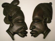 DEUX SCULPTURES  STATUE EN BOIS  EBENE TETE HOMME FEMME AFRIQUE