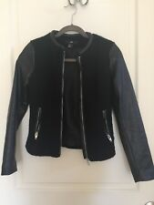 H&M Women's Wool with Faux Leather Sleeves Black Jacket size 2