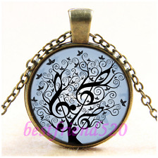 Vintage Music Tree of  Lfe Cabochon Glass Bronze Chain  Pendant Necklace#CD46