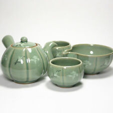 Korean Celadon 3 cups tea set Pumpkin hand-made perfect gift teaset