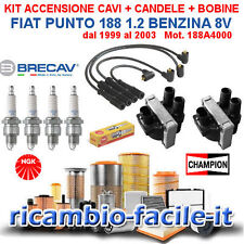 KIT ACCENSIONE CAVI CANDELE BOBINE FIAT PUNTO 1.2 1200 BENZINA 8V 99>03 188A4000