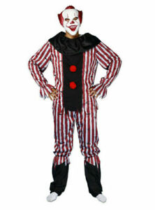 Horror Killer Clown Scary Circus Costume Mens Halloween Pennywise Jester Nightma