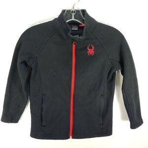 Spyder Boy's Full Zip Fleece Jacket Black Red Size 7/8