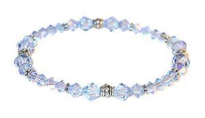 "Dainty 6"" LIGHT SAPPHIRE BLUE Crystal Bracelet Sterling Silver Swarovski Element"