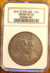 One of the Best! Germany 1872 2 Taler Thaler C-279, Saxony. NGC MS-66, Old Slab