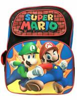 Super Mario Bros Brothers Boys School Large Backpack Book Bag Kids Children 16""