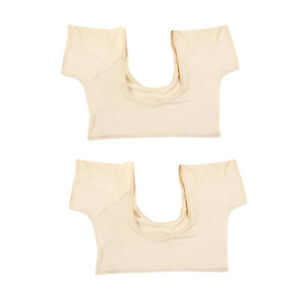 2x Women Washable Sweatproof Body Undershirt for Women w/ Underarm Sweat Pads L