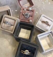 LOT OF 4 Vintage Inspired Velvet Heirloom Ring Boxes 2 Piece 4cm x 4cm x 4 cm