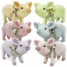Glitter Flocked Pastel Pig Pallooza Easter Sunday Spring Figurine Home Decor