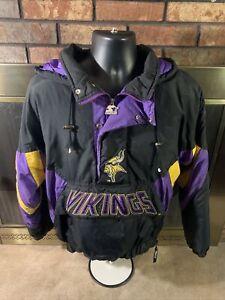 Vintage Minnesota Vikings 90s Starter Hooded NFL Football Jacket Mens Size Small
