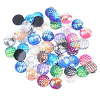 50Pcs 12mm Mix Fish Scale Mermaid Flat Back DIY Craft Resin Cabochons BraceletHV